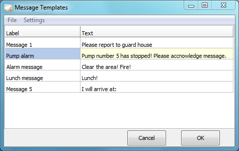 Pre defined messages