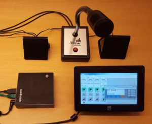 Small PC with small touch screen and Table top microphone