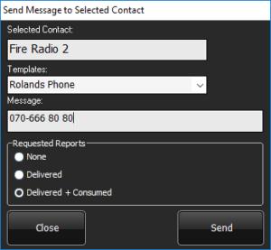 Send SDS message menu