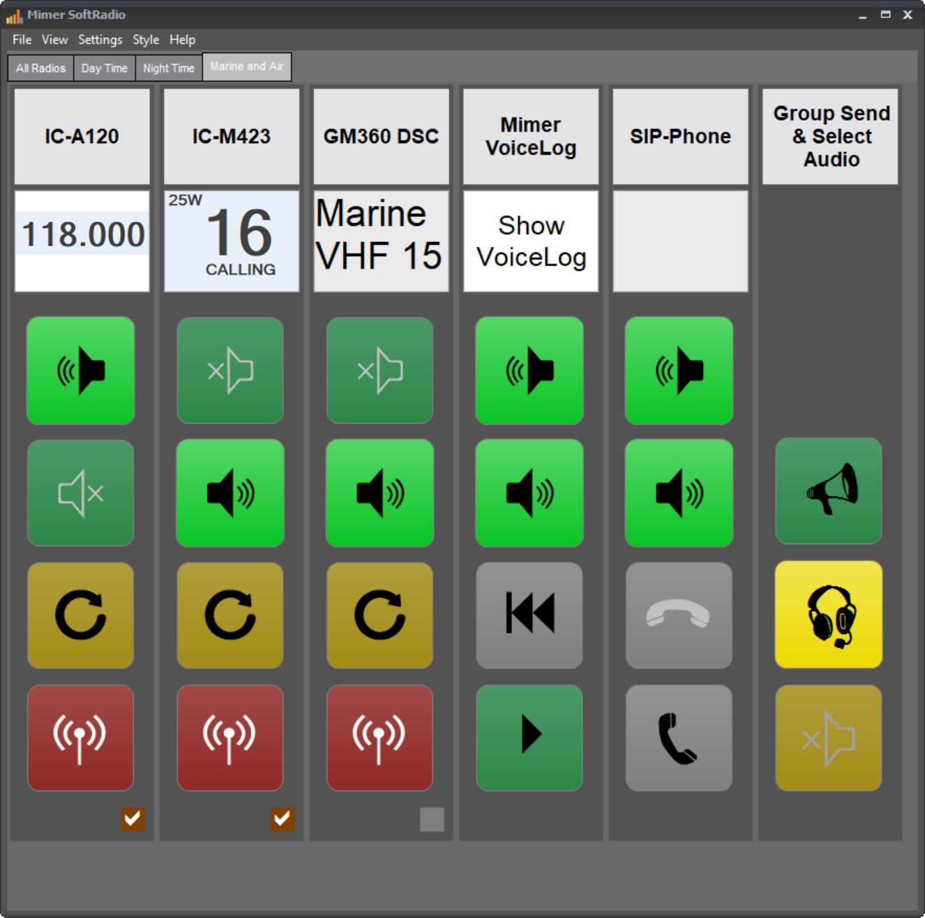 SoftRadio with the Custom Functions Panel activated plus VoiceLog and Phone