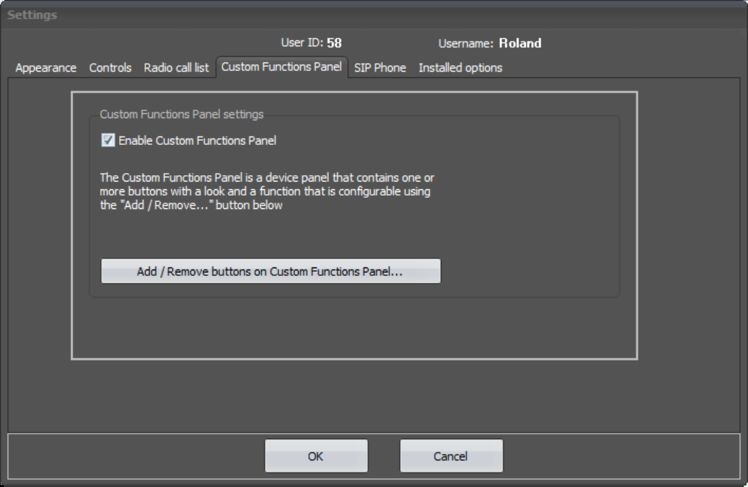 SoftRadio Settings - Custom Functions Panel