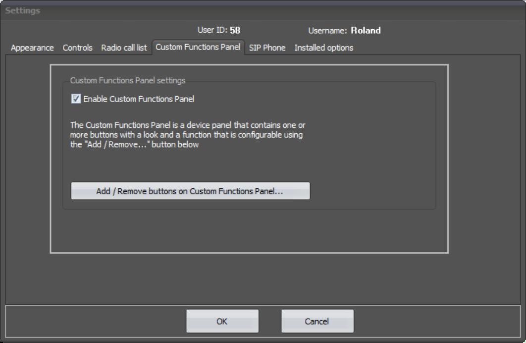 SoftRadio Settings - Custom Functions Panel
