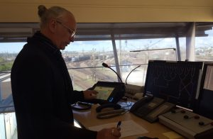 Dispatcher in action at a shunting tower