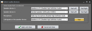 Audio accessories setting when using the Quad speaker option