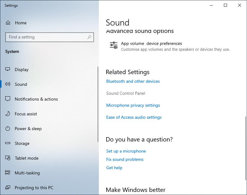 "Select ""Sound Control Panel"""