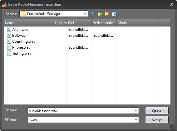 Saving of audio recordings