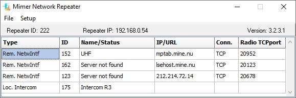 NetworkRepeater status window